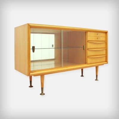 Small Cherrywood Sideboard With Glass Doors And Brass Details, 1950s