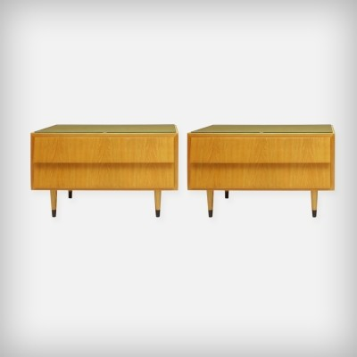 Pair Of Ash Wood Nightstands With Glass Tops, 1950s