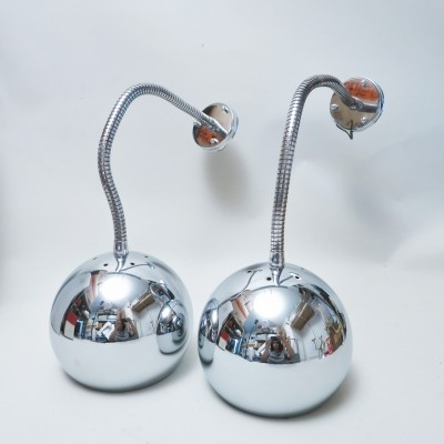 Pair of flexible chrome wall lamps, 1970s