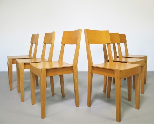 Rare set of 6 early production Beech multiplex dining chairs by Piet Hein Eek, 1995