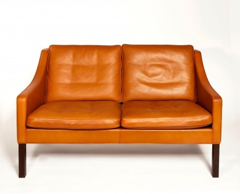 Orange Leather Two-Seat Sofa 2208 by Børge Mogensen, 1960s