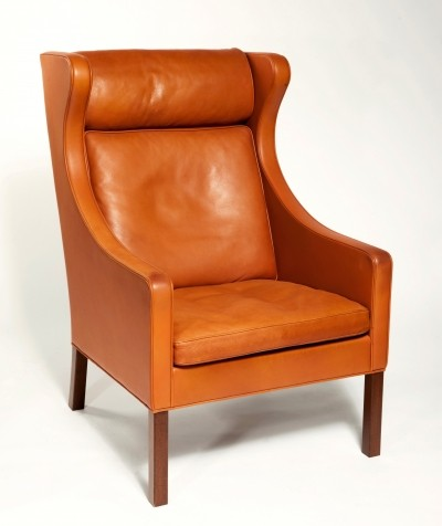 Orange Leather Wing Chair 2204 by Børge Mogensen, 1960s