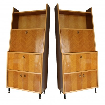 Set of 2 Italian Wood & Metal Writing Desk cabinets, 1950s