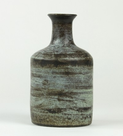 Ceramic vase with blue & brown glaze by Jan van der Vaart, 1960