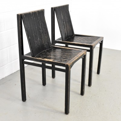 2 first edition 'Slat chairs' by Ruud Jan Kokke, 1984