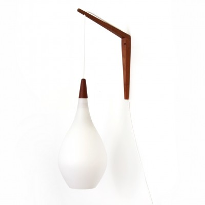 White glass wall lamp with teak detail by Kastrup Holmegaard