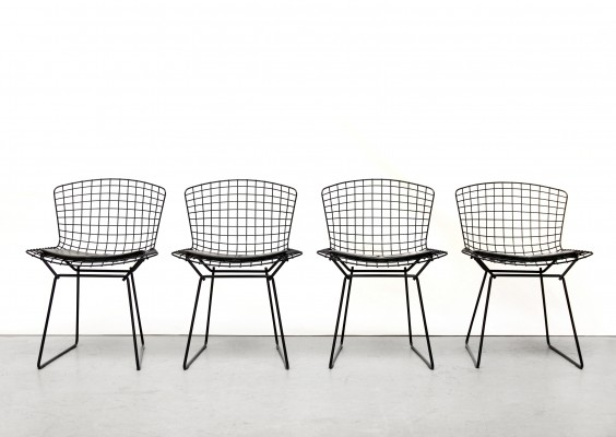 Set of 4 Harry Bertoia wire dining chairs in black with cushion