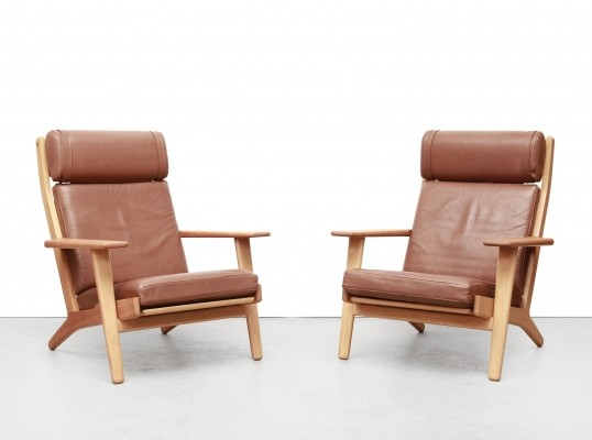 Set of two cognac leather Hans Wegner GE290 armchairs by Getama