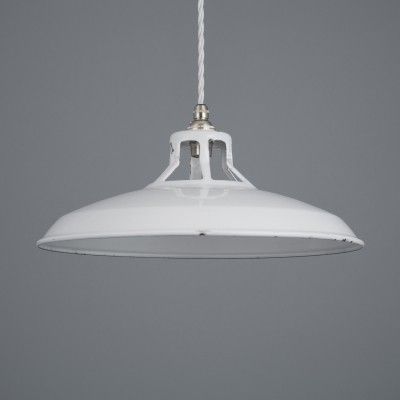 Vintage white enamel low profile Beniflux pendant light by Benjamin