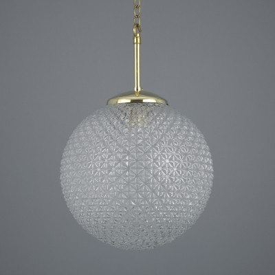 Retro 1970s cut glass pendant light with brass gallery