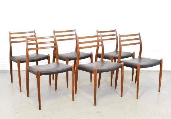 Set of 6 No. 78 dinner chairs by Niels O. Møller for JL Møller Møbelfabrik, 1970s