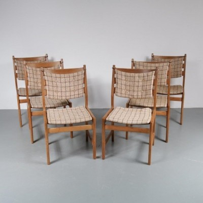 1950s Oak dining chairs with cushions by Kurt Østervig for KP Møbler