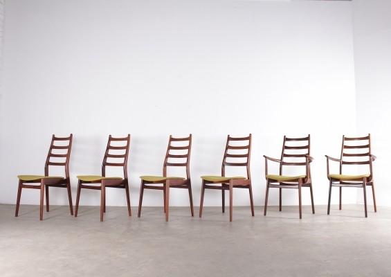 4 chairs & 2 armchairs in rosewood by Casala