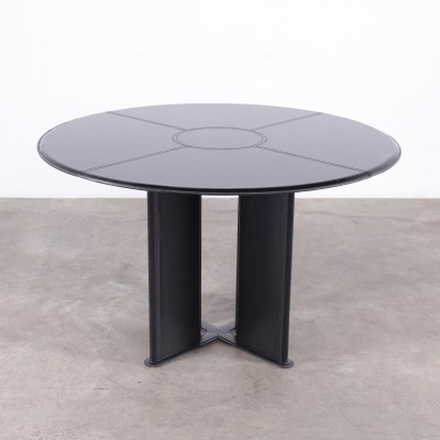 Italian Black leather circular table by Tito Agnoli for Matteo Grassi