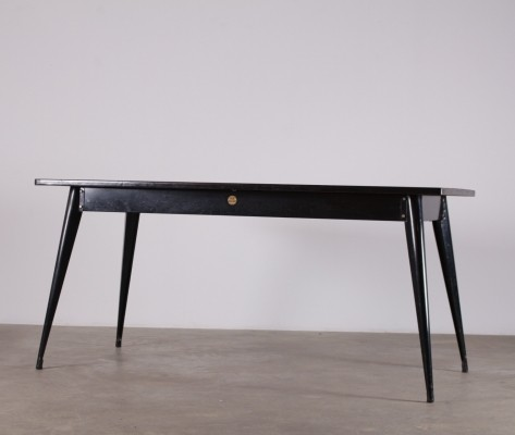 Black steel orange formica table by Xavier Pauchard for Tolix