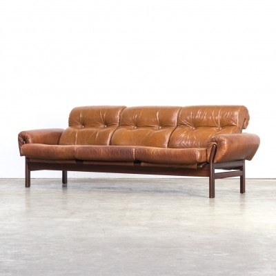 Arne Norell cognac leather & rosewood framed sofa, 1970s