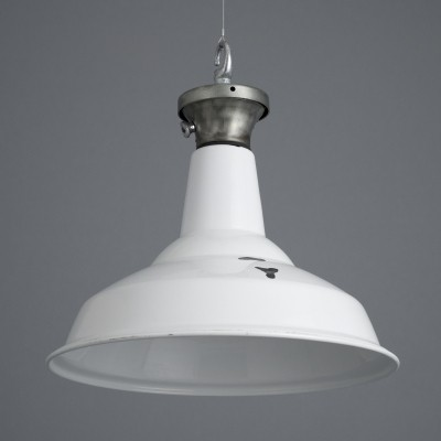 White enamel industrial pendant light by Benjamin