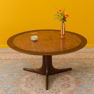 German palisander coffee table with copper, 1960s