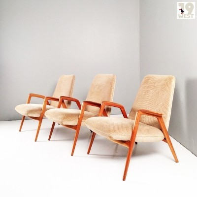 Three modernist lounge chairs from the 1950's
