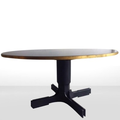 Italian Midcentury round black table with brass & wood details