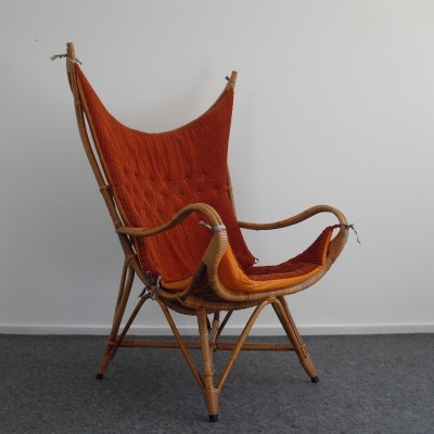 Rattan Wingback Lounge Chair, 1950's