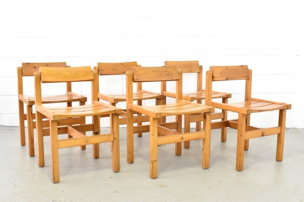 Set of six pine chairs by Edvin Helseth for Stange Bruk Norway, 1960s