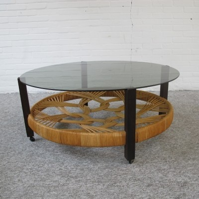 Vintage Coffee table with rattan & glass, 1970s