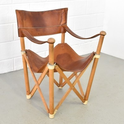 Saddle leather folding chair, Italy 1950s