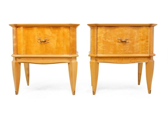 Italian Bedside Tables in Satin Birch, 1950s