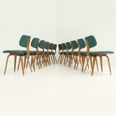 Set of Twelve Joe Atkinson Chairs for Thonet, USA 1950's