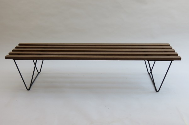 1960s Iroko & steel Bench