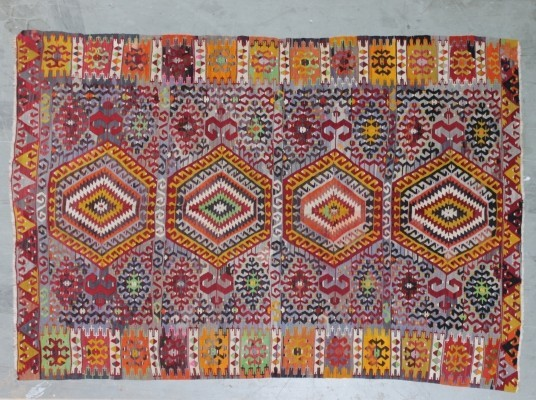 Antique Turkish Kaysery Kilim, flat-weave rug
