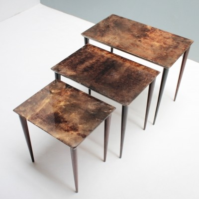 Set of 3 Aldo Tura parchment nesting tables