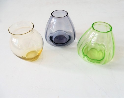 Set of three small colourful vases by A.D. Copier