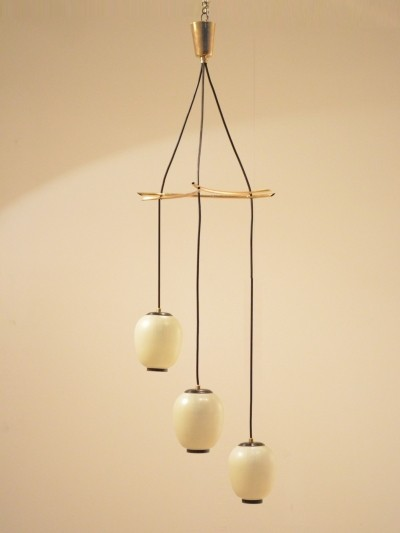 Mid-century pendant lamp / chandelier in glass & brass