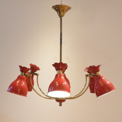 French mid-century design chandelier in painted metal & brass