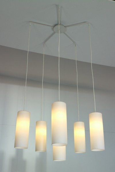 Large Opaline Glass Chandelier Pendant, Netherlands 1950s