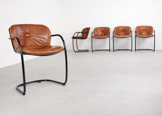 Set of 5 dinner chairs by Gastone Rinaldi for Rima Italy, 1970s
