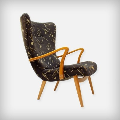 German Cherrywood Wingback Lounge Chair, 1950s