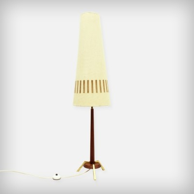 Teak Floor Lamp With Brass And Leather Details, 1960s