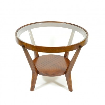 Round Kozelka & Kropáček coffee table with glass in wooden frame, 1950s