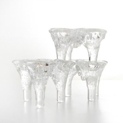 Ice Glass Candle Holder by Don Shepherd for Blenko, 1970s