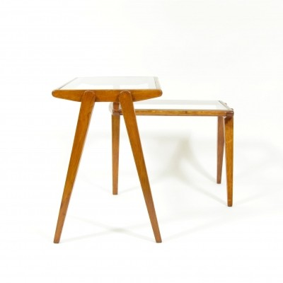 Folding side table in wood & glass, Czechoslovakia 1960s