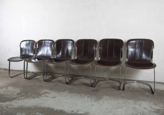 6 x dinner chair by Willy Rizzo for Cidue, 1960s