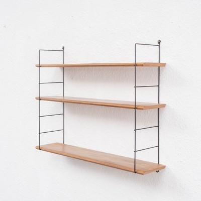 1960s wall shelf with solid wood shelves
