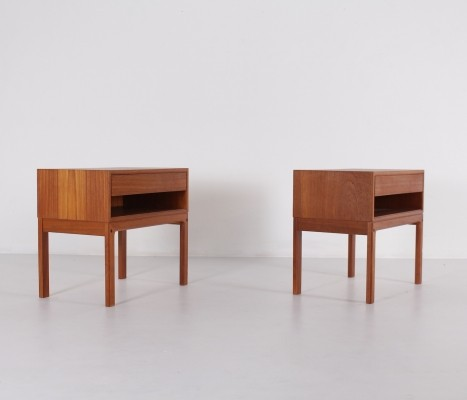 Scandinavian Teak Side Tables with Drawer, 1970s