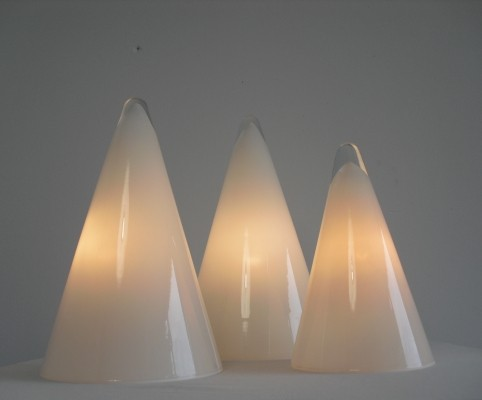 Set Glass TeePee Table Lamps by SCE France 1970's