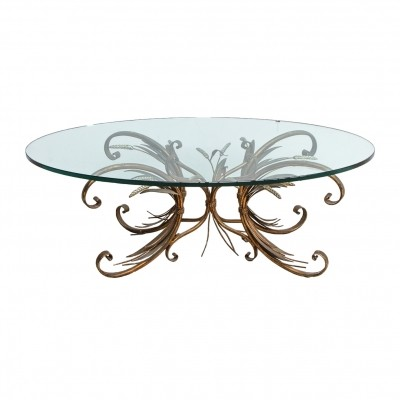 Coco Chanel mid-century French coffee table sheaf of wheat with oval glass top