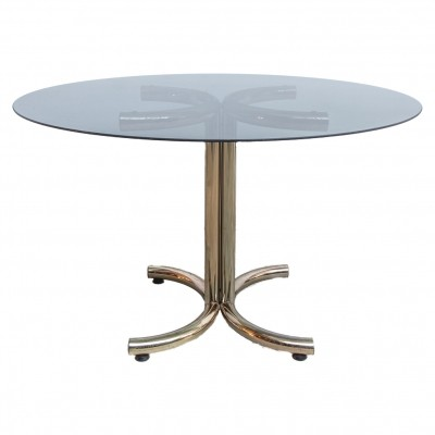 Mid-Century Brass & Smoked Glass Round Table by Giotto Stoppino, 70s