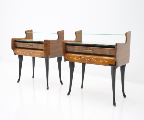 Pair of Bed Side Tables / Night Stands with Horse Legs, Italy 1959